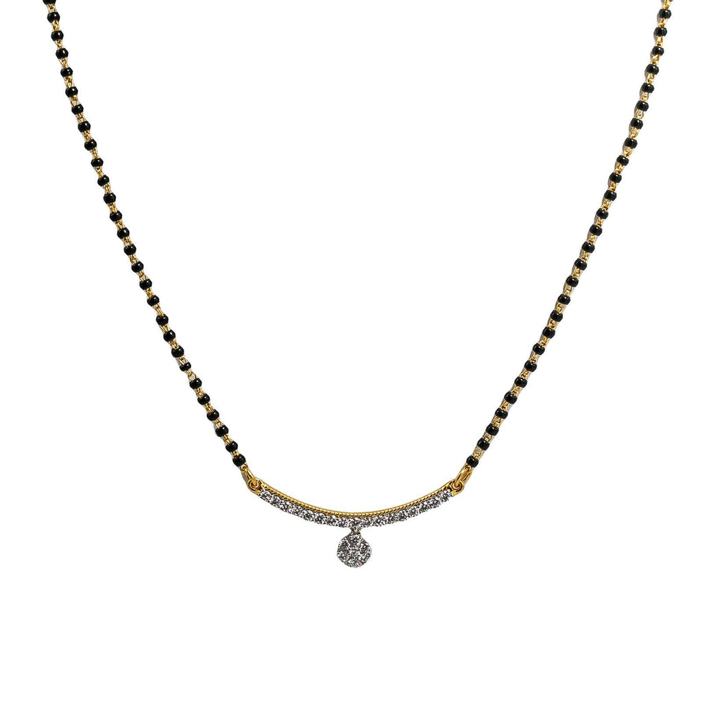 18K Yellow Gold Mangalsutra Necklace W/ Yellow Gold Diamond Bar Pendant & Circle Charm |  18K Yellow Gold Mangalsutra Necklace W/ Yellow Gold Diamond Bar Pendant & Circle Charm for w...
