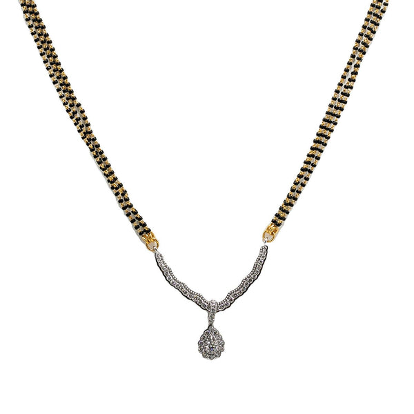 18K Yellow Gold Mangalsutra Chain W/ White Gold Diamond Pear Shaped Pendant | 18K Yellow Gold Mangalsutra Chain W/ White Gold Diamond Pear Shaped Pendant for women. This uniqu...