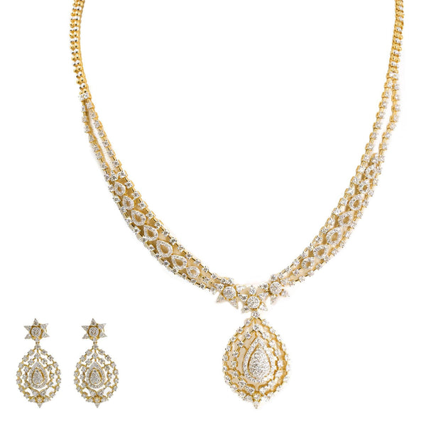 18K Yellow Gold Diamond Necklace & Drop Earrings Set W/ 7.42ct VVS Diamonds & Interchangeable Stone Feature | 18K Yellow Gold Diamond Necklace & Drop Earrings Set W/ 7.42ct VVS Diamonds & Interchange...