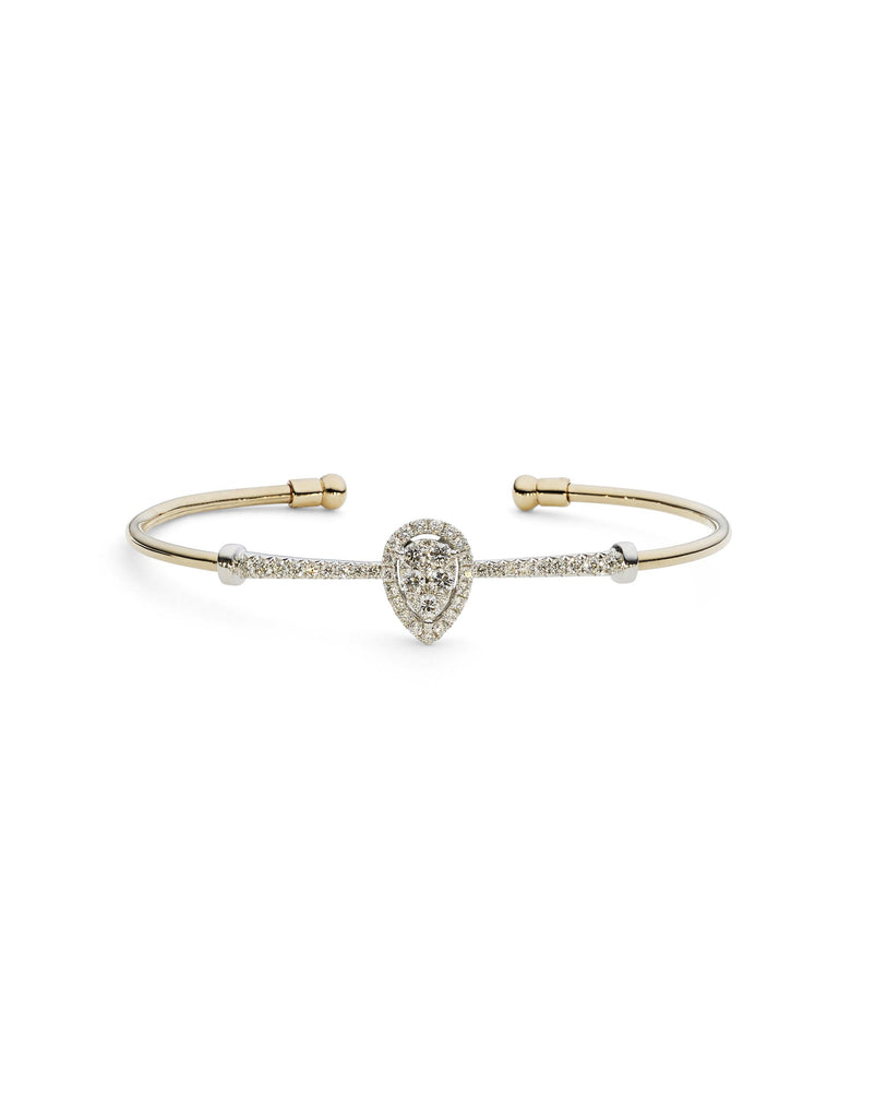 18K Yellow Gold Diamond Bangle W/ 0.8ct Diamonds & Crossover Band | Indulge in the guilt-free exploration of precious diamonds and gold of this exquisite women's 18K...