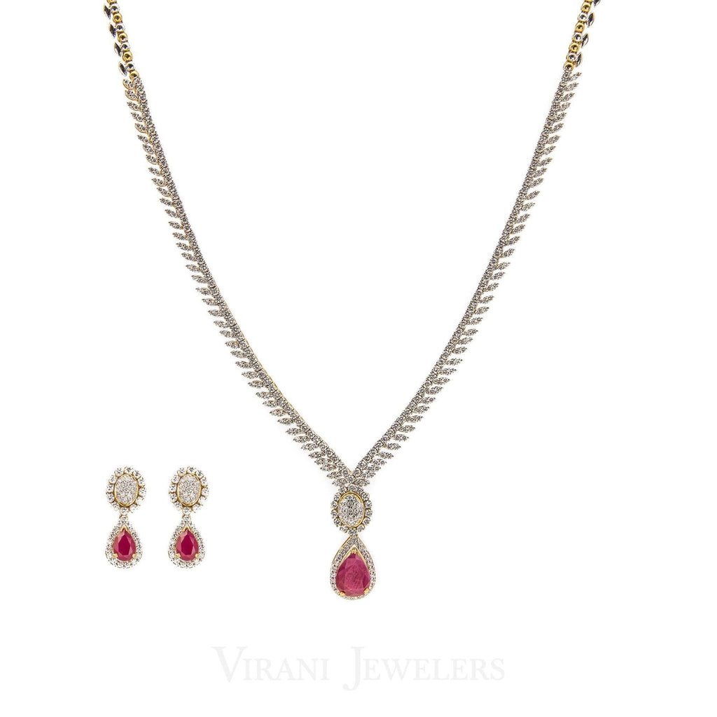 5.82CT Diamond Box Chain Necklace and Earrings Set in 18k Yellow Gold W/ Drop Ruby Pendant | 5.82CT Diamond Box Chain Necklace and Earrings Set in 18k Yellow Gold W/ Drop Ruby Pendant for wo...