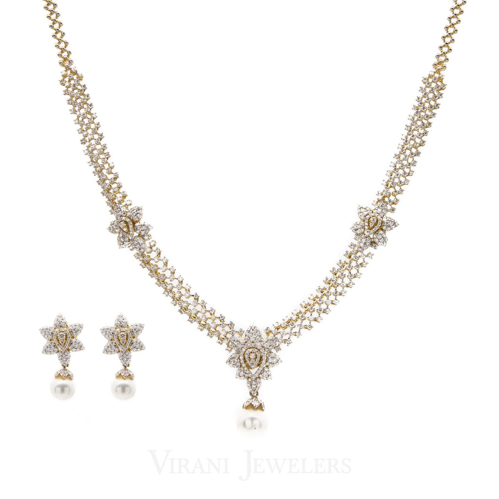 8.74CT VVS Diamond Necklace & Earring Set in 18K Gold W/ Floral Accent Design | 8.74CT VVS Diamond Necklace & Earring Set in 18K Gold W/ Floral Accent Design for women. Neck...