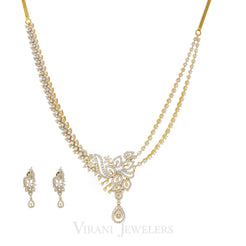 7.03CT Statement Diamond Necklace and Earrings set in 18K Yellow Gold