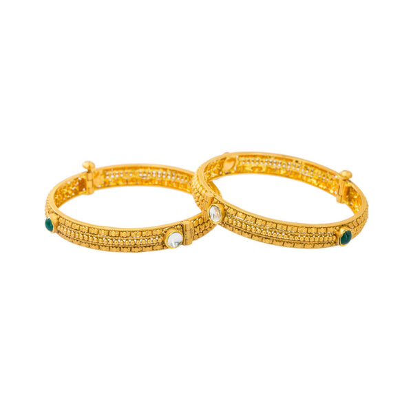 22K Gold Bangle | Be bold in stackable accents of Kundan, emeralds and gold with this pair of 22K yellow antique go...