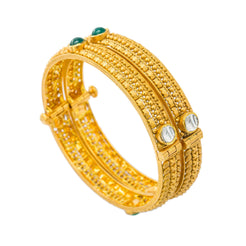 22K Yellow Antique Gold Openable Bangles Set of 2 W/ Kundan & Emeralds