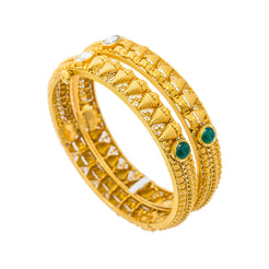 22K Yellow Antique Gold Domed Bangles Set of 2 W/ Kundan & Emeralds