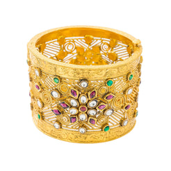 22K Yellow Antique Gold Kundan Bangle Cuff W/ Colorful Artistic Display