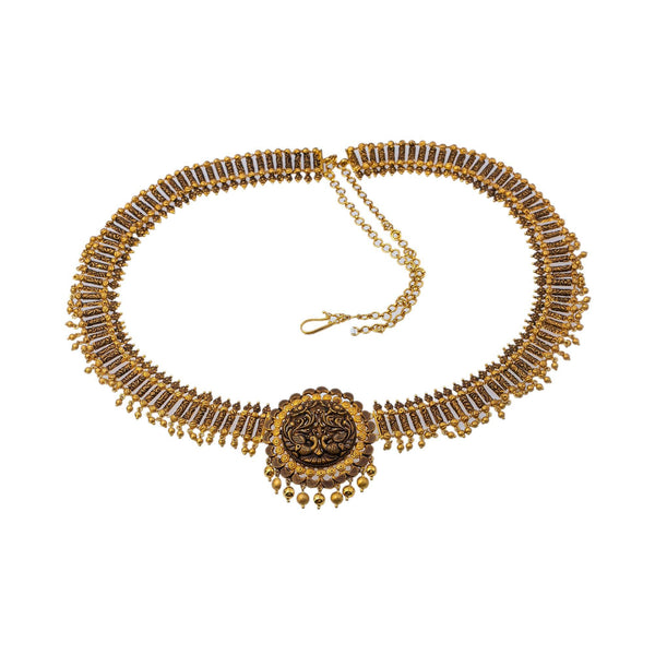 22K Yellow Gold Antique Beaded Vaddanam Waist Belt W/ Adjustable Gold Chain Belt, 155.5gm | Add movement and luxury to your most festive looks with Vaddanam waist belts that will transform ...