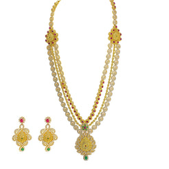22K Yellow Gold Antique Necklace & Earrings Set W/ Ruby, Emerald, CZ & Large Ornate Pendants on Beaded Multi Strand