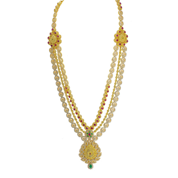 22K Yellow Gold Antique Necklace & Earrings Set W/ Ruby, Emerald, CZ & Large Ornate Pendants on Beaded Multi Strand |  22K Yellow Gold Antique Finish Necklace & Earrings Set W/ Ruby, Emerald, CZ & Large Orna...