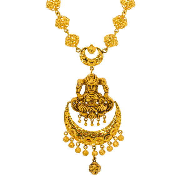 22K Yellow Gold Antique Necklace & Jhumki Earrings Set W/ Laxmi Pendant | Be bold and elegant with this most exquisite 22K yellow gold antique Temple necklace and earrings...