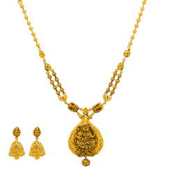 22K Yellow Gold Antique Necklace & Jhumki Earrings Set W/ Laxmi Pendant & Split Chain