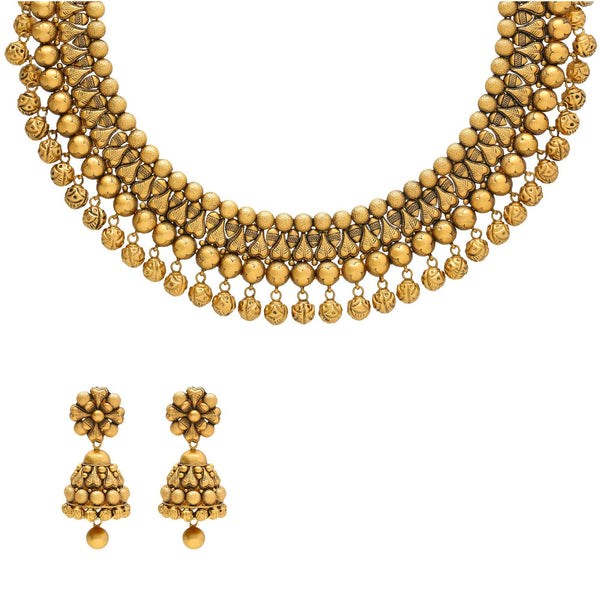 22K Yellow Gold Antique Necklace and Earrings Set | Dress up even the most casual outfits with this stunning 22K gold necklace set from Virani Jewele...