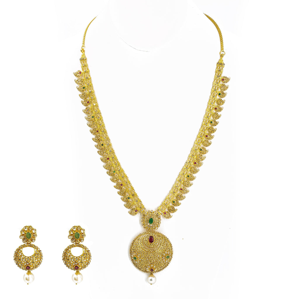 22K Yellow Gold Set Necklace & Earrings W/ Uncut Diamonds, Rubies & Emeralds on Three-Row Chain |  22K Yellow Gold Set Necklace & Earrings W/ Uncut Diamonds, Rubies & Emeralds on Three-Ro...