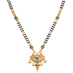 An image of a 22K yellow gold necklace with a flared pendant from Virani Jewelers