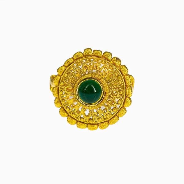 22K Yellow Gold Adjustable Shield Ring W/ Emerald & Rope Accents |  22K Yellow Gold Adjustable Shield Ring W/ Emerald & Rope Accents for women. This ornate 22K ...
