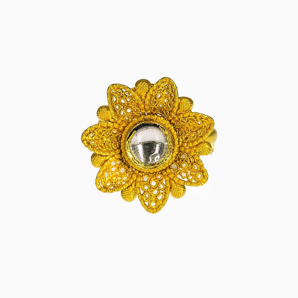 22K Yellow Gold Adjustable Ring W/ Kundan & Bloomed Faceted Flower |  22K Yellow Gold Adjustable Ring W/ Kundan & Bloomed Faceted Flower for women. This ornate 22...