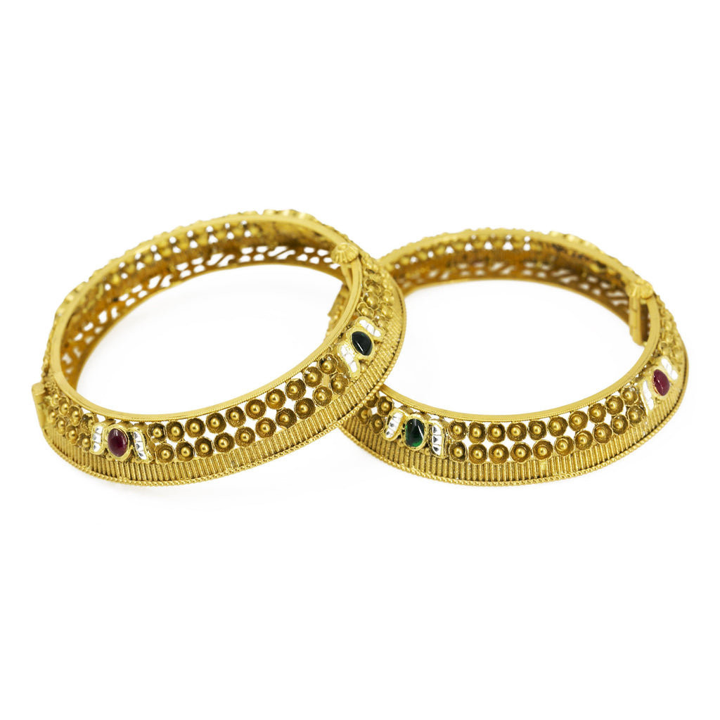 22K Gold Antique Bangle W/ Screw -2pc | Bangle Diameter 2.4 Inches.Bangle Width 12 mm.
