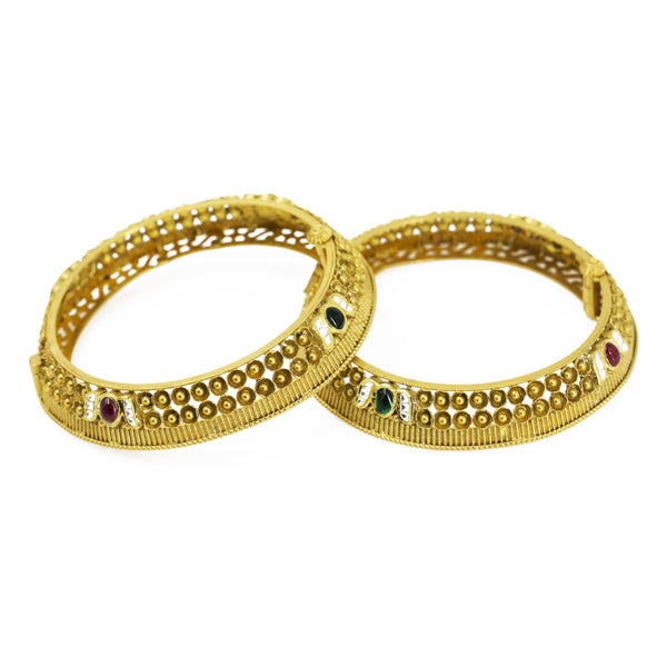 22K Yellow Gold Antique Bangles Set of 2 W/ Ruby, Emerald, CZ Stones & Screw Closure |  22K Yellow Gold Antique Bangles Set of 2 W/ Ruby, Emerald, CZ Stones & Screw Closure for wom...