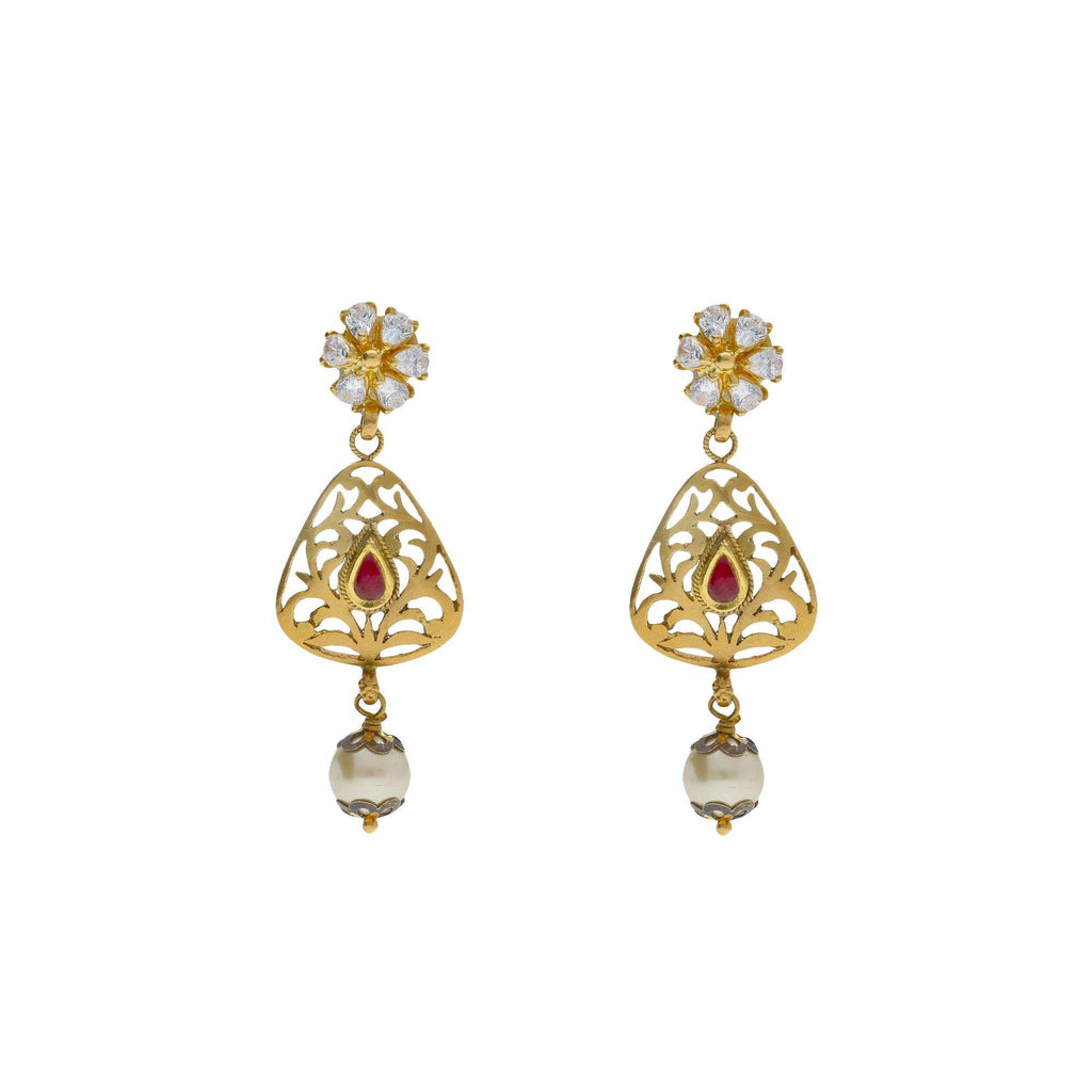 22K Yellow Antique Gold Drop Earrings W/ CZ, Rubies, Pearls & Laser Cut Design - Virani Jewelers |    Exude elegance with the classic touches of fine design with special jewelry like this 22K yell...