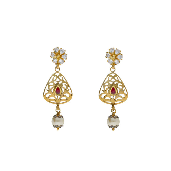 22K Yellow Antique Gold Drop Earrings W/ CZ, Rubies, Pearls & Laser Cut Design |    Exude elegance with the classic touches of fine design with special jewelry like this 22K yell...