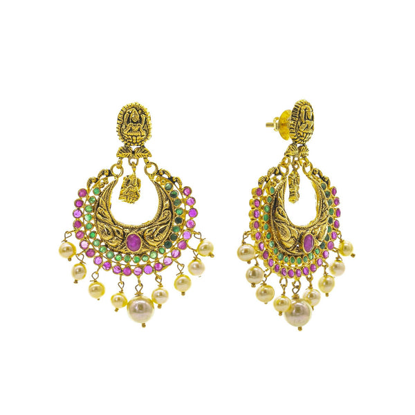 An image of the post and side of the Antique Laxmi Temple 22K gold earrings from Virani Jewelers. | Turn heads as soon as you walk in the room with this 22K gold necklace set from Virani Jewelers! ...