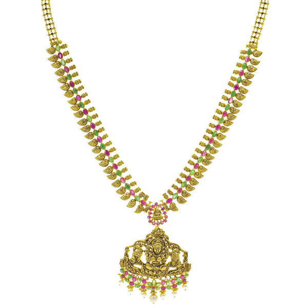 An image of the Antique Laxmi Temple 22K gold necklace from Virani Jewelers. | Turn heads as soon as you walk in the room with this 22K gold necklace set from Virani Jewelers! ...