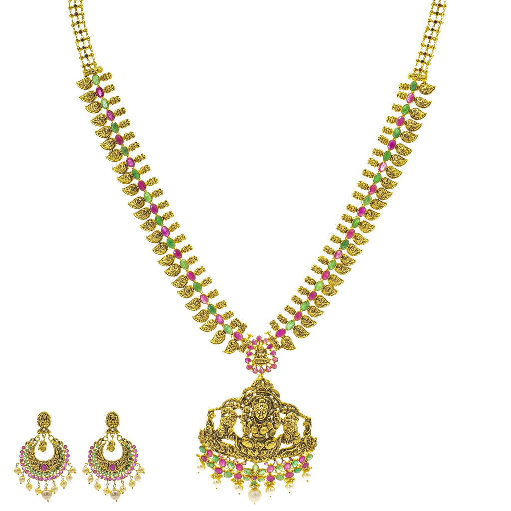 An image of the Antique Laxmi Temple 22K gold necklace set from Virani Jewelers. | Turn heads as soon as you walk in the room with this 22K gold necklace set from Virani Jewelers! ...