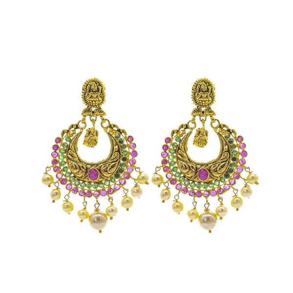 An image of the Antique Laxmi Temple 22K gold earrings from Virani Jewelers. | Turn heads as soon as you walk in the room with this 22K gold necklace set from Virani Jewelers! ...