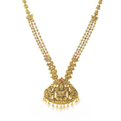 An image of the 22K gold necklace with a depiction of Laxmi from Virani Jewelers.
