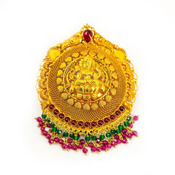 22K Yellow Gold Antique Pendant W/ Hanging Emeralds & Rubies on Laxmi Engraved Shield Frame