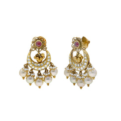 22K Yellow Antique Gold Chandbali Pendant & Earrings Set W/ Kundan, Rubies & Pearls