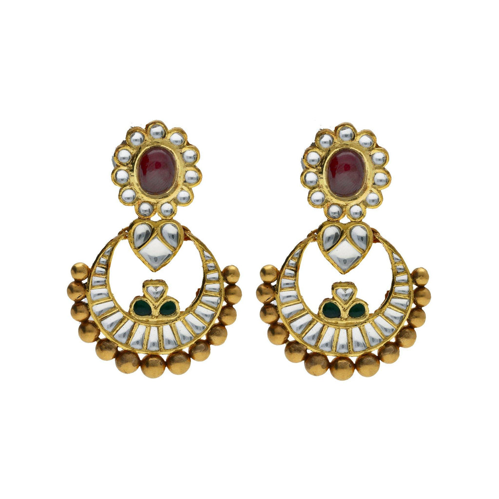 22K Yellow Antique Gold Chandbali Pendant & Earrings Set W/ Kundan, Rubies & Emeralds |     Bring in the elements of precious gemstone designs and antique gold to your attire with piece...
