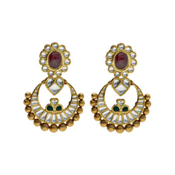 22K Yellow Antique Gold Chandbali Pendant & Earrings Set W/ Kundan, Rubies & Emeralds