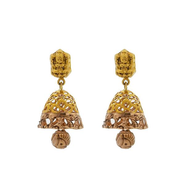 An image of the Antique 22K gold earrings from Virani Jewelers. | Celebrate culture and tradition with this gorgeous 22K gold necklace set from Virani Jewelers!  F...