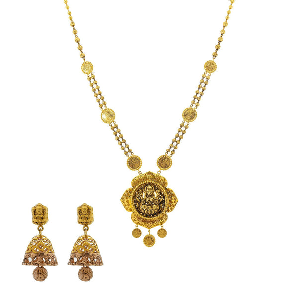 An image of the Antique Medallion 22K gold necklace set from Virani Jewelers. | Celebrate culture and tradition with this gorgeous 22K gold necklace set from Virani Jewelers!  F...