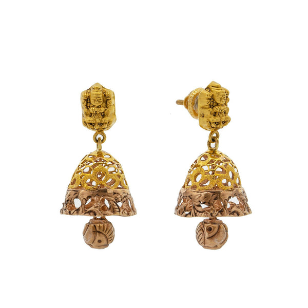 An image showing the side and post on the Antique Medallion 22K gold earrings from Virani Jewelers. | Celebrate culture and tradition with this gorgeous 22K gold necklace set from Virani Jewelers!  F...