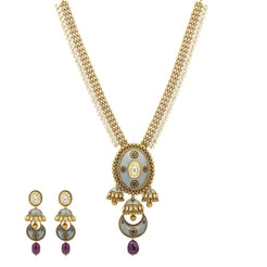 An image of the Artistic Kundan 22K gold necklace set from Virani Jewelers.