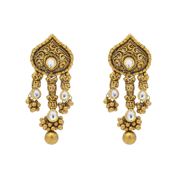 An image of two 22K gold earrings from Virani Jewelers. | Add antique beauty to your favorite ensemble with this gorgeous 22K gold necklace set from Virani...