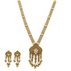 An image of the Antique Kundan 22K gold necklace set from Virani Jewelers.