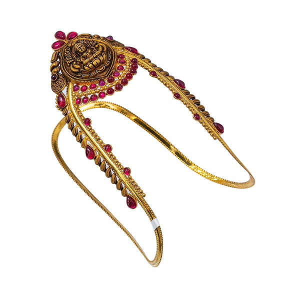 22K Yellow Gold Antique Laxmi Vanki W/ Precious Rubies | Enhance your special look with the graceful allure of arm Vankis such as these 22K yellow gold an...