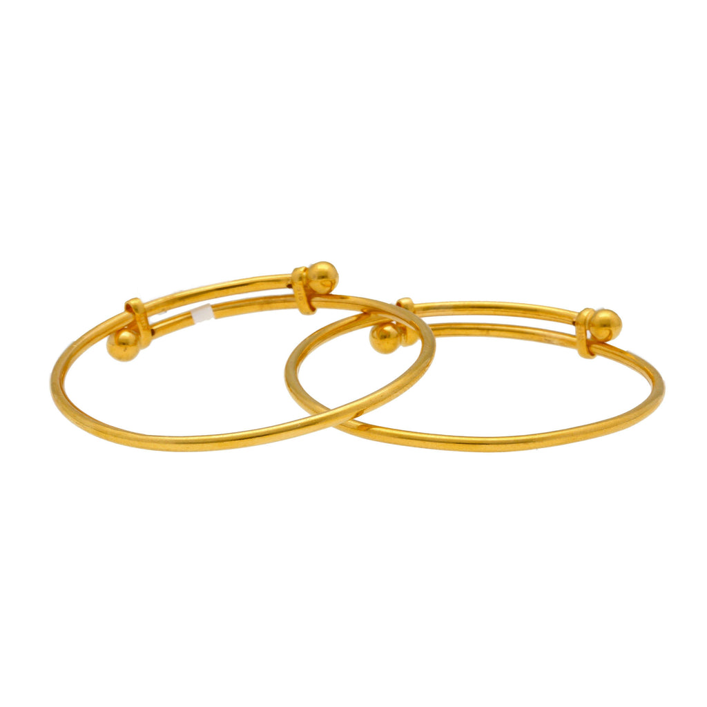 22K Yellow Gold Baby Bangles Set of 2 W/ Adjustable Bands |    Beautify your little ones with the brilliance of this set of two, 22K yellow gold adjustable b...