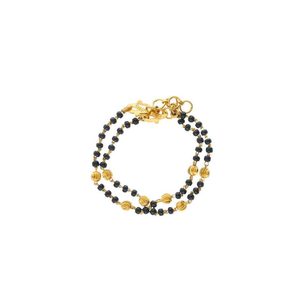 22K Yellow Gold Link Peace Old Fashioned Baby Bracelet W/ Black-beads, 6.9 grams - Virani Jewelers |    A black beaded bracelet made up of dual tone Gold color, available in 22K Gold. The old-fashio...