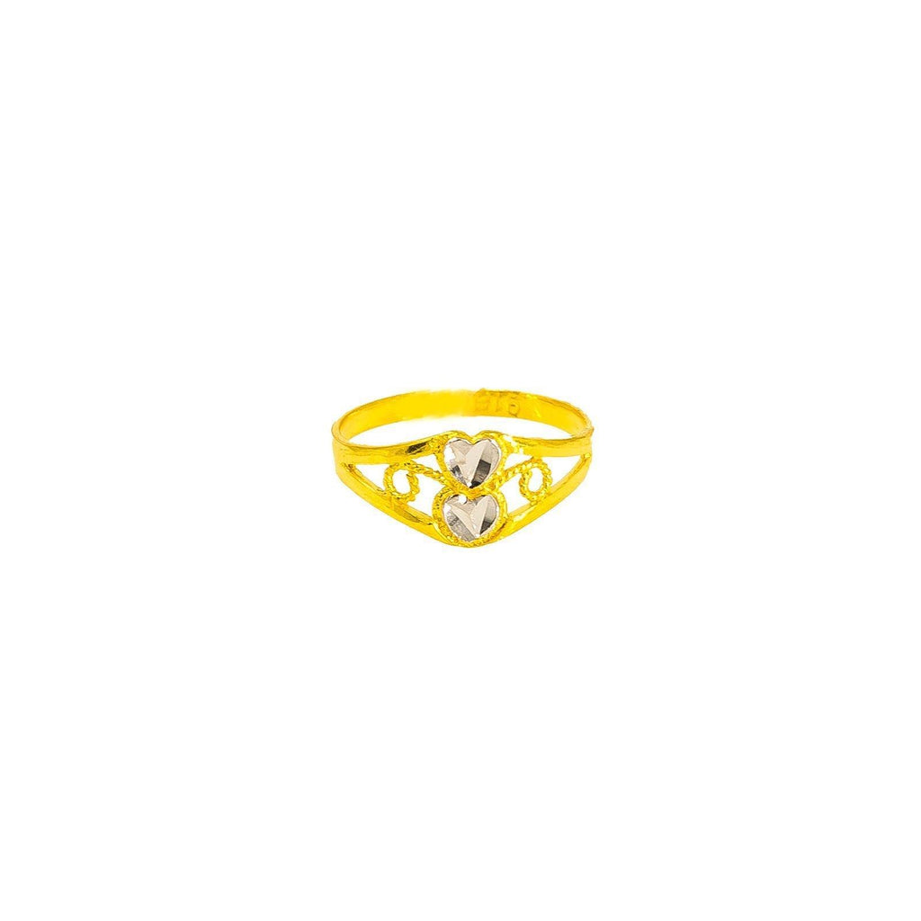 22K Multi Tone Gold Baby Ring W/ Diamond Cutting & Open Double Heart Detail, Size 2 |  22K Multi Tone Gold Baby Ring W/ Diamond Cutting & Open Double Heart Detail, Size 2. This pe...