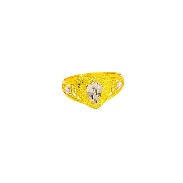 22K Multi Tone Gold Baby Ring W/ Diamond Cutting on Textured Double Heart Design |  22K Multi Tone Gold Baby Ring W/ Diamond Cutting on Textured Double Heart Design. This darling p...