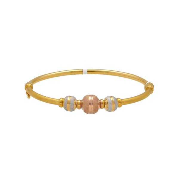22K Multi Tone Gold Bangle W/ Stripe-Textured Accents Balls |    Add a hint of texture and color with the versatile designs of this elegant 22K tri-tone gold b...