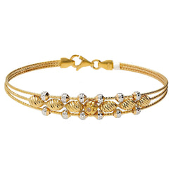22K Yellow & White Gold Layered Bangle with Beads