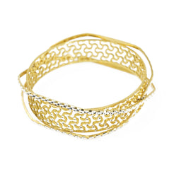 22K Multi Tone Gold Bangle W/ Diamond Cutting & Open Cut Design on Crossover Bracelets