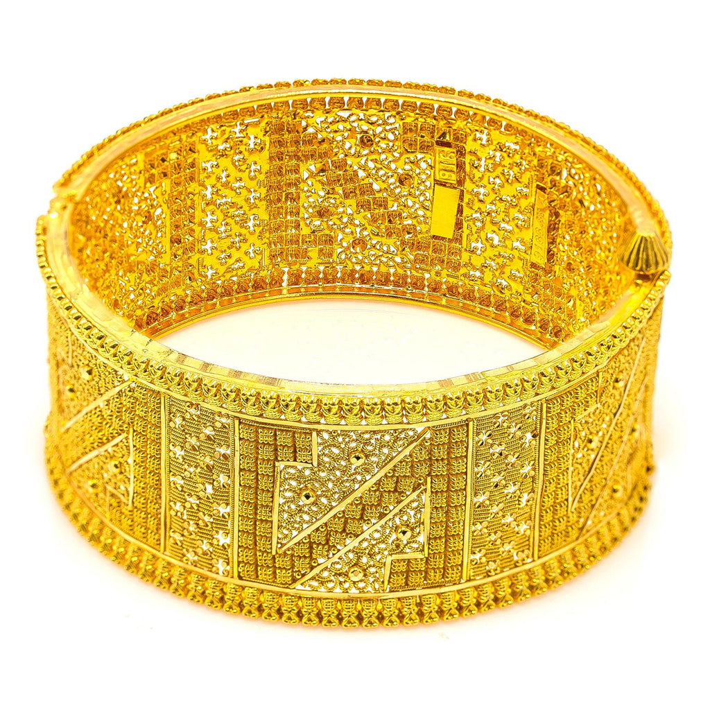 22K Yellow Gold Bangle W/ Intricate Design & 'N' Accents |  22K Yellow Gold Bangle W/ Intricate Design & 'N' Accents for women. This radiant 22K yellow ...