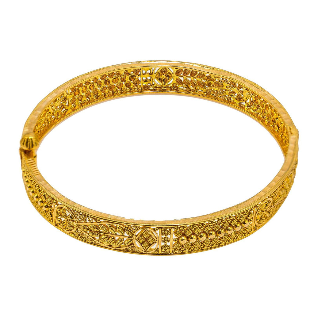 22K Yellow Gold Bangle W/ Leaf Details & Bead Ball Accents |  22K Yellow Gold Bangle W/ Leaf Details & Bead Ball Accents for women. This beautiful 22K yel...
